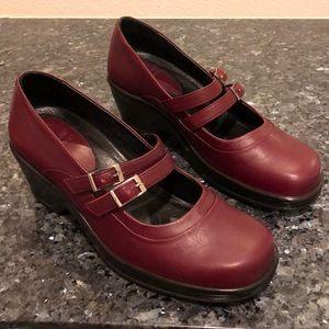 Dansko merlot burgundy 2-buckle Mary Janes